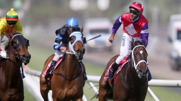 Melbourne Cup Carnival : Hucklebuck (D Tourneur) wins Emirates